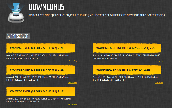 WampServer download page